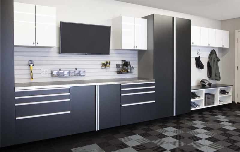Basalt Cabinets Angle White Acrylic Mudroom
