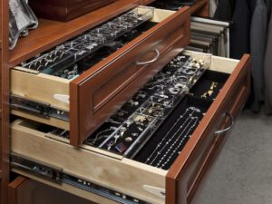 Warm Cognac Premier Drawers Open with Velveteen and Acrylic Jewelry Trays Olsen